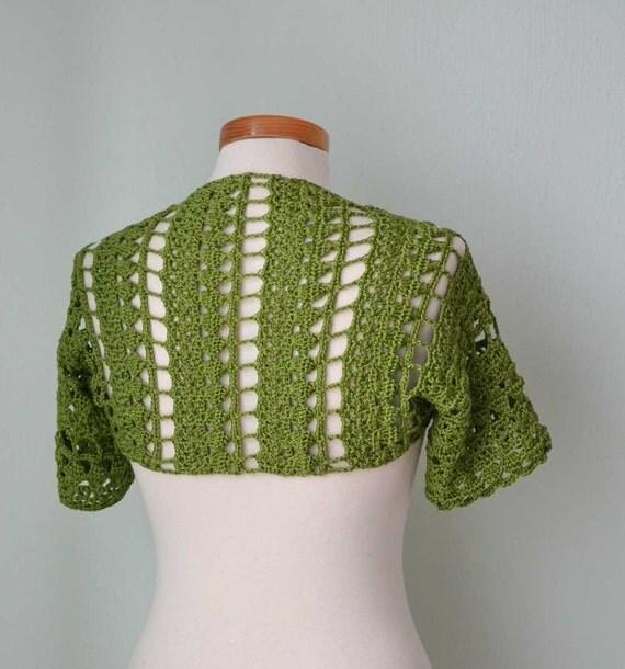Crochet shrug bolero, Green, lace, Size S/M,  G732