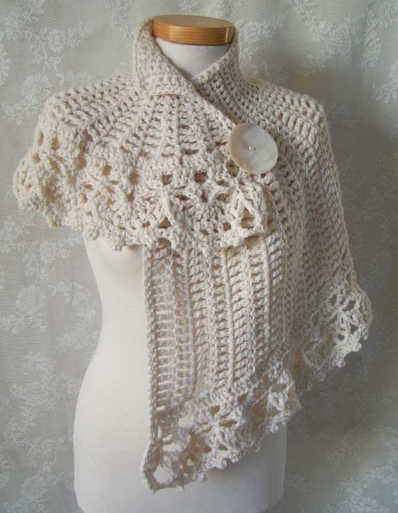 Free Vintage Crochet Cape Patterns : White asymmetrical capelet Crochet pattern PDF