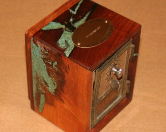 Small Mesquite Postal Bank with Combination and Turquoise