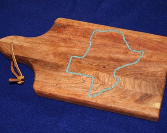 Small Mesquite cutting board with turquoise inlay