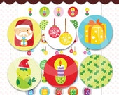 Printable Collage Sheet 1 Inch Circle A Christmas Series - DC 027