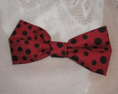 Handmade Boys Men Clip On Bow Tie Girls Hair Bow Red Black Dots