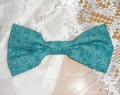 Handmade Boys Men Clip On Bow Tie Girls Hair Bow Turquoise Print