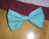 Handmade Boys Men Clip On Bow Tie Girls Hair Bow Turquoise / Pink Polka Dots