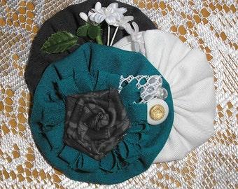 Handmade Fabric Flower Pin Brooch Jewelery Accessory
