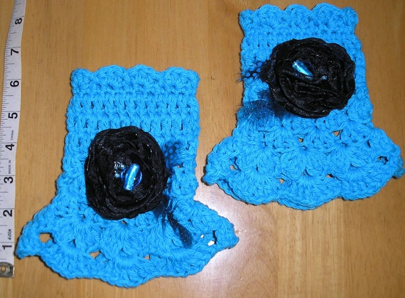 Hand Crochet Cuff-Fingerless-Cotton-Womans-Misses-Teen  Turquoise