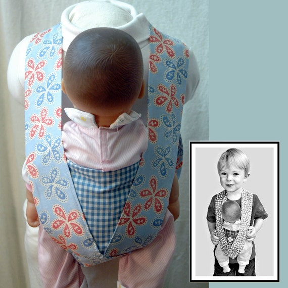Size 4/5, Ready to Ship, Cuddles for Kids Doll Carrier, Pink and Blue Paisley with Blue Gingham Accent