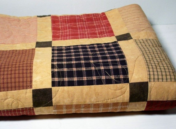 Brushed cotton square-in-a-square quilt
