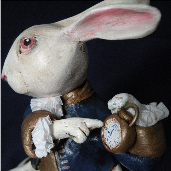 Ooak white rabbit paper clay sculpture