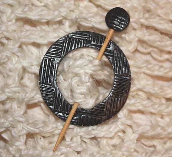 Shawl Pin, Reversible  Black and Pearl Clay