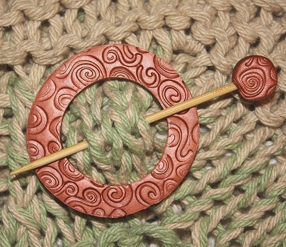 Shawl Pin, Reversible Copper and Gold Clay