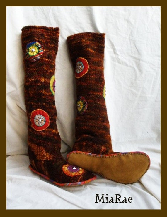 Upcycled Sci-fi Spotted Adult wool slipper boots