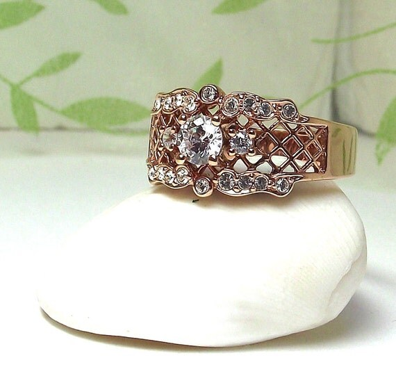 Vintage Costume Avon Ring - Gold Tone Filigree with Rhinestones - Size 10