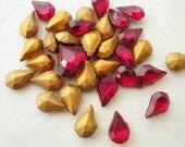 Vintage German Glass Rhinestones, Gems, Jewels, Vibrant Ruby Red Teardrop 8x3 mm