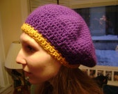 Mushroom Cap Hat Purple and Mustard
