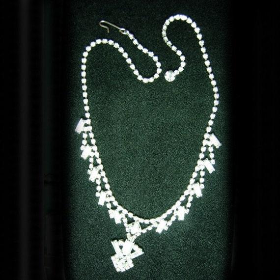 Vintage  Rhinestone Necklace Marked R