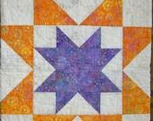 Handmade  Purple and Orange Star Quilt
