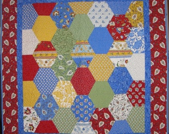 Hexagon Lap Quilt  - A Breath of Avignon