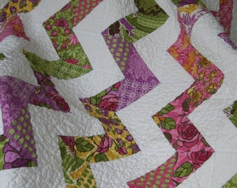 Handmade Santorini Zigzag Quilt Eco Friendly
