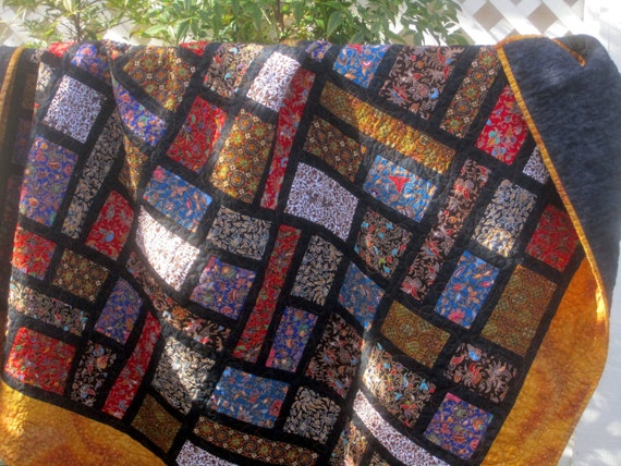 Handmade Patchwork Quilt Sofa Throw, Lap Quilt
