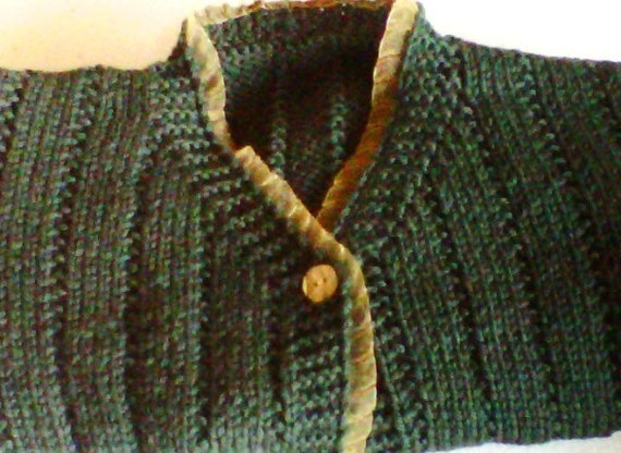 SALE Hand Knitted Cardigan sweater up to 3T in worsted wool with organza trim forest green   age 2-3 years