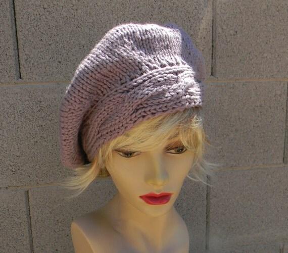 Hand Knit beret, slouchy beanie in Merino, soft dusky lavender