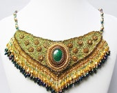 Bejeweled Bollywood Bib Necklace with Malachite - windyriver