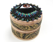 Cyclops Jewelry Box Felt Embroidery Gold Paisley Painted Pattern Brown Eyeball