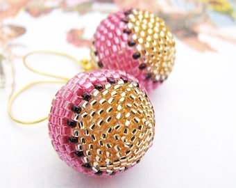 Color Block Earrings Pink and Gold Beaded Bead