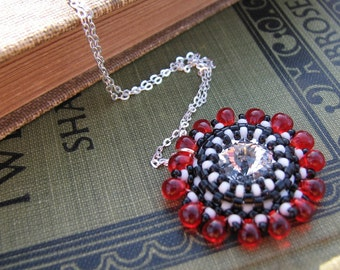 Crystal Necklace on Sterling Chain with Red Beadwork