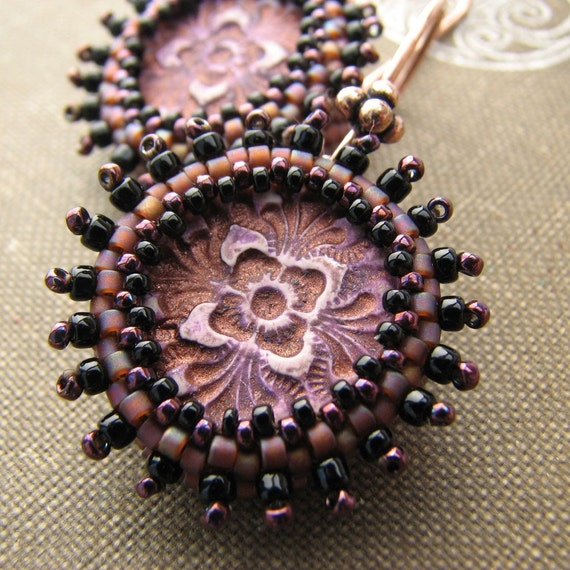 Plum Filigree Earring, Golden Beaded Bezel, Stamped Polymer Clay, Copper Ear Wire