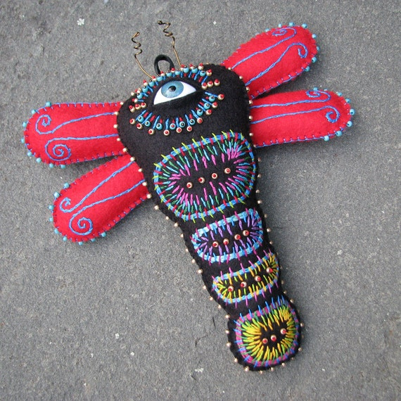 Mexican Folk Art Inspired Embroidered Cyclops Dragonfly Soft Sculpture