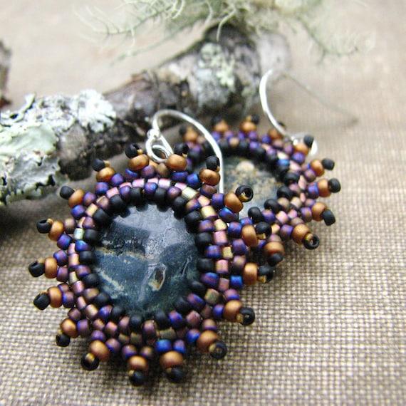 Jasper Earrings, Gold and Purple Beaded Bezel, Sterling Silver Ear Wires