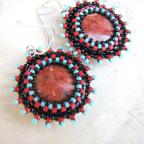 Red Coral Earrings, Black and Turquoise Beading, Sterling Silver, Frida Kahlo Inspired