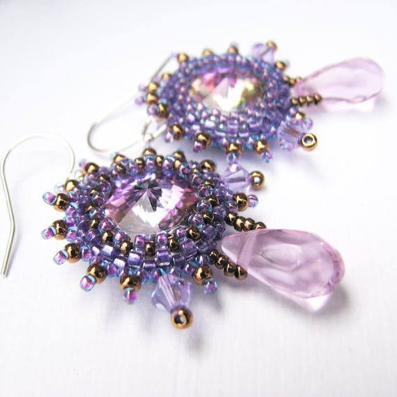 Crystal Snowflake Earrings, Pink Beads and Sterling Silver