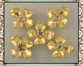 2 Hole Beads Dogwood Flowers GOLD Metal with 10mm Clear Swarovski Crystal Elements ~ Sliders QTY 5
