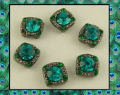 2 Hole Beads Crystal Stardust Gala with Blue Zircon & Emerald Swarovski Crystal Elements ~ Sliders QTY 6     (SKU 504929623)