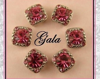 2 Hole Glass Beads QTY 6 Crystal Gala Made with 8mm Pink Rose Swarovski Crystal Elements