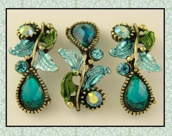 2 Hole Beads Leaf Vine & Teardrop Bars Aqua + AB Swarovski Crystal Elements ~ Sliders QTY 3