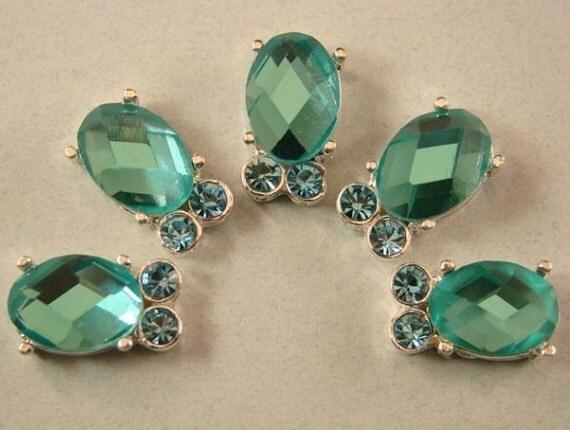 2 Hole Slider Beads Wings Aqua Made with Swarovski Elements #7