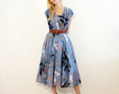 Vintage Louis Feraud French Deisgner Full Skirt Summer Dress in Blue Size L