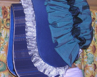Victorian Bonnet in Blues and Silver