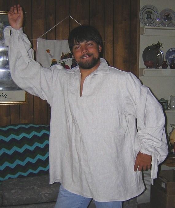 Large Mix Natural Colored Linen Men's Renaissance Shirt - SCA, LARP
