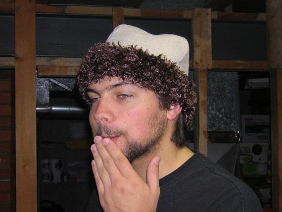 Rus Viking Natural colored Linen with Brown Fur Skull Cap Hat - SCA, LARP