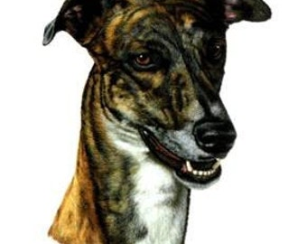 GREYHOUND BRINDLE Dog Head. TWELVE Identical 6 inch Fabric Squares for Quilting and Sewing