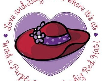 """RED HATS with """"Love and Laughter"""" Phrase on ONE 16 inch square Fabric Panel for Quilting and Sewing.Picture is 8"""" x' 8"""" on white background."""