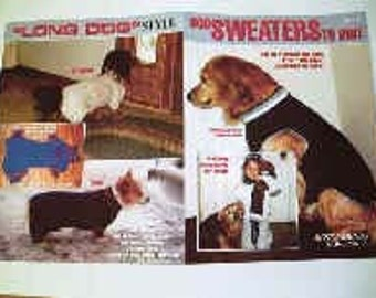 """Knitting Patterns For Dog Sweaters to Knit  in a Booklet. For All Dog Sizes includes"""" Long Dogs"""" (standard dachshund, corgi, basset)"""