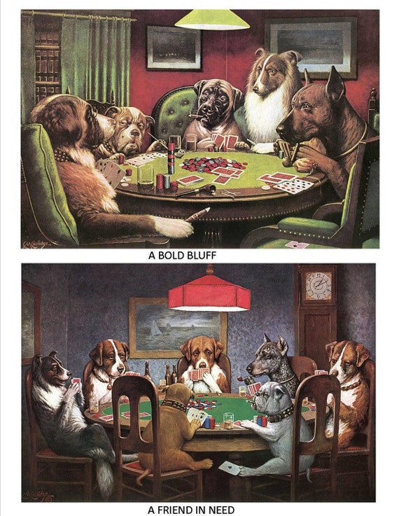 DOGS PLAYING POKER Fabric Set for Quilting or other Sewing