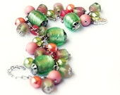 Bracelet Charm Candy color  - rose peach and green peridot glass beads