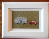 Finished Framed Cross Stitch Airstream Trailer